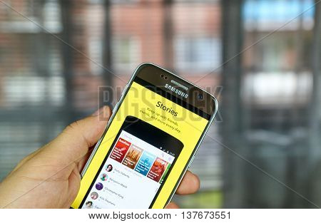 MONTREAL CANADA - JULY 1 2016 - Snapchat Stories on android cell smartphone. Snapchat is a mobile messaging application used to share photos videos text and drawings.