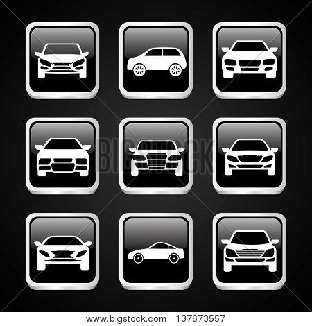 Transporation design represented by set of cars silhouette over frames design. Flat illustration. Black background
