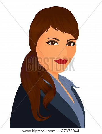 Specialist in public relations. Portrait pr manager in a dark suit on white background. Isolated vector illustration. Vertical location.