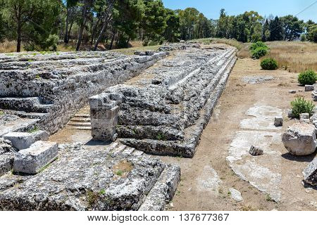 Archaeological Park of Neapolis with temple of Olympian Zeus at Syracusa Sicily Italy