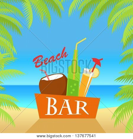 Beach bar vector flat illustration. Cold drinks for summer vacations set. Juice, coconut milk, cocktail, soda, isolated on white background. Leisure on tropical sunny beach with palm trees.