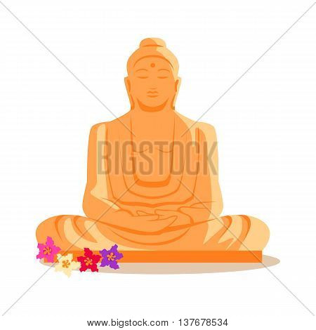 Travelling India famous historical attractions vector. Summer vacation in exotic countries concept. Buddha Statue in flat design. Acient Indian buddhist architecture illustration. Isolated on whitre.