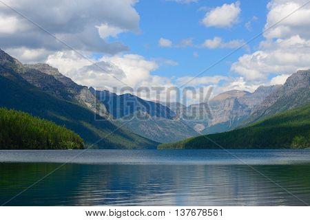 Lake, Bowman, Glacier, Park, National, Sky, Water, Montana, Outdoors, Nature, Blue, Green, Tree, Nob