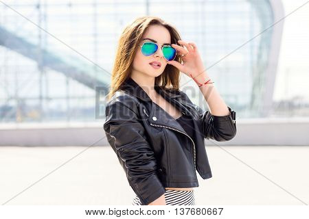 Beautiful Brunette Girl In Fashion Style