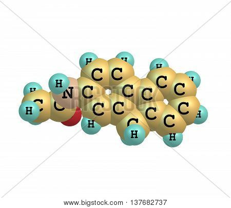 2-Acetylaminofluorene is a carcinogenic and mutagenic derivative of fluorene. It is used as a biochemical tool in the study of carcinogenesis. 3d illustration poster