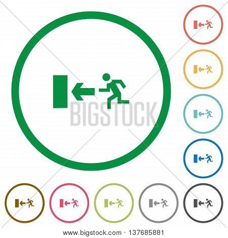 Set of exit color round outlined flat icons on white background
