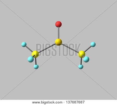 Dimethyl sulfoxide or DMSO is an organosulfur compound with the formula CH32SO. This colorless liquid is an important polar aprotic solvent. 3d illustration