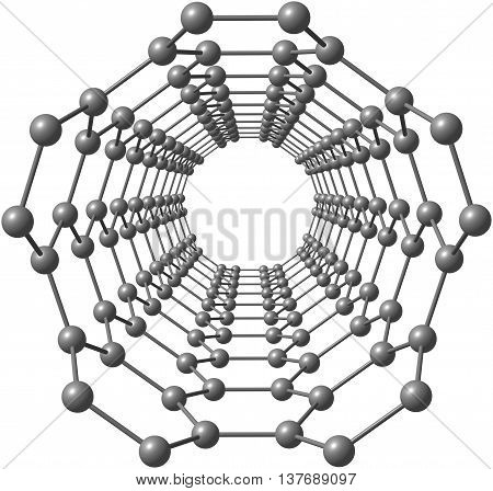 Isolated illustration looking into a carbon nanotube. 3d illustration