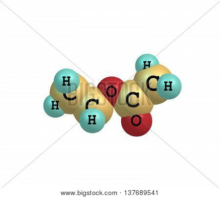 Ethyl acetate or ethyl ethanoate is the organic compound. This colorless liquid has a characteristic sweet smell - similar to pear drops. 3d illustration