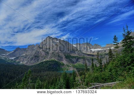 Grinnell Glacier And Lake In Glacier National Park In Summer