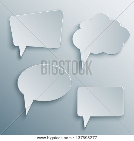 Set of Paper Cutout cloud speech bubbles with shade in 3d and origami style. Vector illustration.