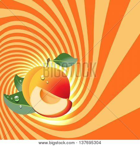 Striped spiral apricot patisserie background. Apricot fruit color. Apricot spiral tunnel. Spiral background for cover design of Apricot fruit products. Vector Illustration.