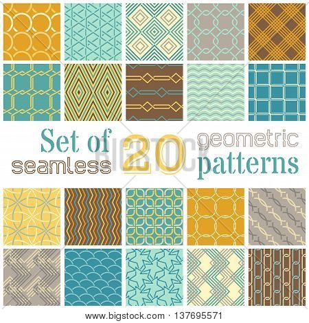 Vector Set Of 20 Geometric Seamless Patterns.