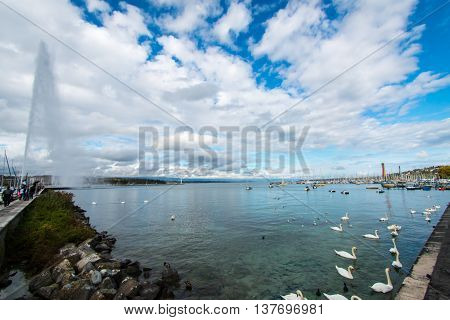 Wide Angle Into Lemans Lake At Geneva, Switzerland