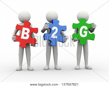 3d rendering of people holding puzzle pieces of b2g - business to government. 3d white people man character poster