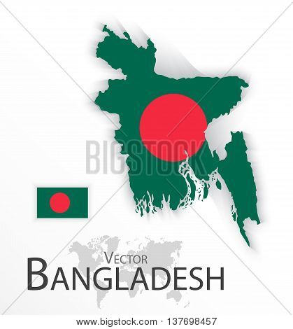 Bangladesh ( People's Republic of Bangladesh ) ( flag and map ) ( transportation and tourism concept )