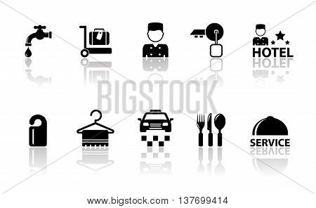 set of hotel concept icons with mirror reflection