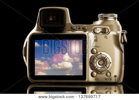 Isolated Photo Video Camera With Cloudscape On Display