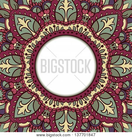 Oriental colorful ornamental frame. Background with filigree ornaments and place for text. Vector card. Book cover vinyl cover CD DVD cover.