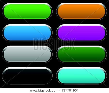 Shorter Button, Banner Backgrounds With Empty Space For Your Text, Message. Set Of Colorful, Bright