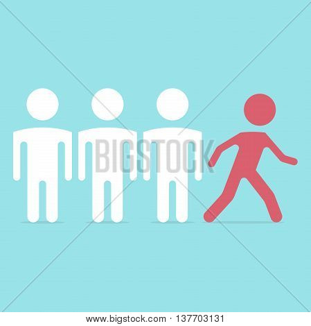 One red man running out from the crowd on blue background. Leadership leader success and competition concept. Flat design. Vector illustration. EPS 8 no transparency