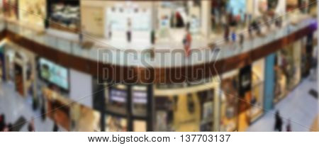 Shopping Center, View From The Top Inside, Boutiques And Shops, People Walking And Shopping, Blurred