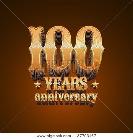 100 years anniversary vector logo. 100th birthday decoration design element sign emblem symbol in gold