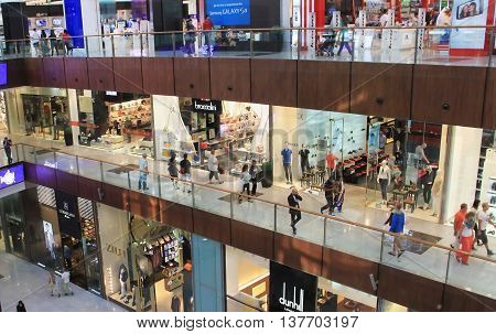 Dubai Mall, A Top View Of The Inside, Boutiques And Shops, People Walking And Shopping, United Arab