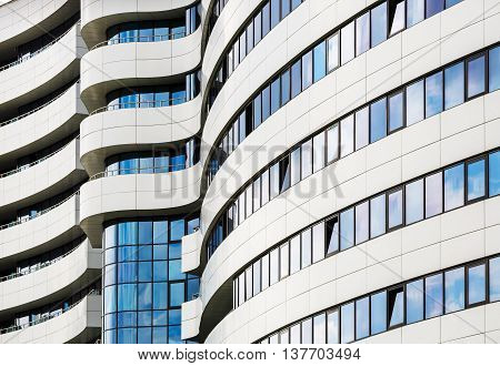 MINSK BELARUS - MAY 03 2016: Renaissance Minsk Hotel - this is the first hotel of the well-known international hotel chain Marriott in Belarus. Modern building of steel and glass. Harmonious combination of smooth lines of modern architecture.
