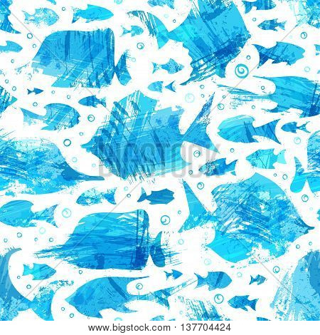 Vector Blue Watercolor Seamless Fish Pattern.