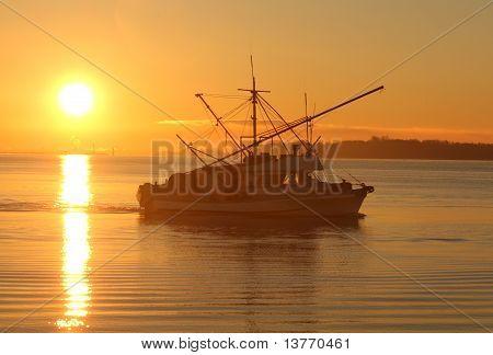 Sunrise Fish Boat Departure