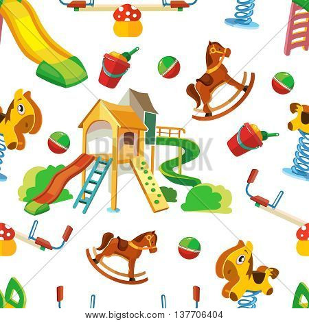 vector seamless pattern of children playground. Background Illustration in flat style.Childhood parenting collection. Picture isolate on white background
