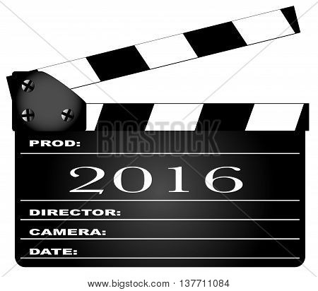 A typical movie clapperboard with the legend 2016 isolated on white.