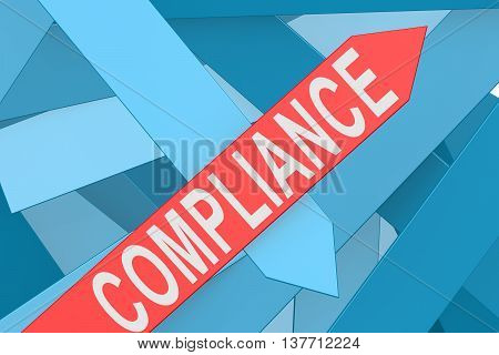 Red Compliance arrow pointing upward 3d rendering