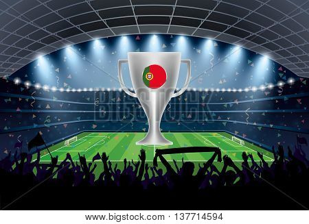 Trophy With Portugal Flag And Excited Crowd Of People At A Soccer Stadium.