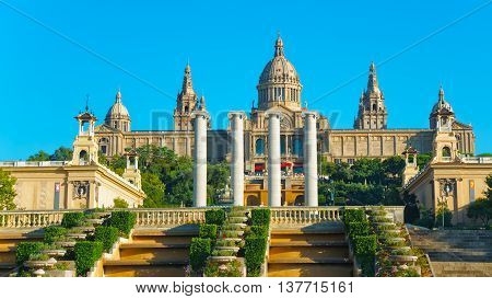 National Palace On The Montjuic Hill In Barcelona Of Spain