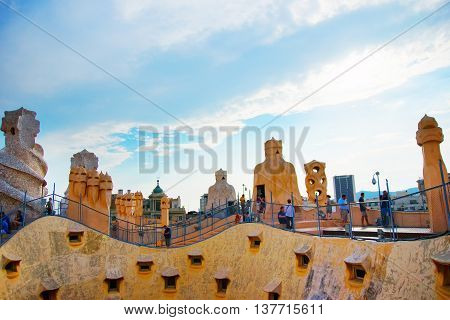 Roof And Chimneys And Tourists At Casa Mila Building