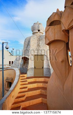 Roof With Chimneys At Casa Mila Building