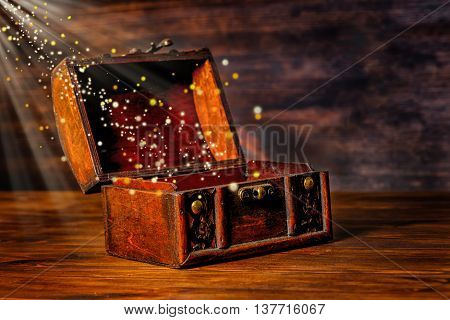 Beautiful Greeting Card Of Opened Vintage Chest Treasure With Miracle Magic Light And Golden Sun Bea