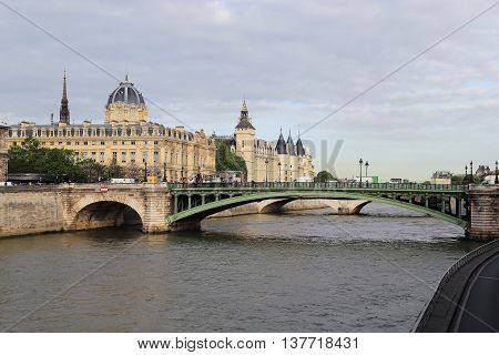 PARIS, FRANCE - MAY 13, 2015: This is view of the central part of the island Cite with the Conciergerie and Palais de Justice.