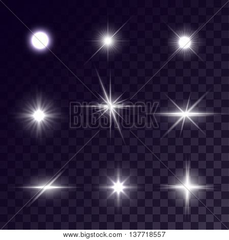 Vector starlights effects. White flashes on transparent background. Release clipping mask for work.