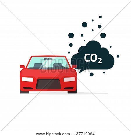 co2 emissions vector illustration, carbon dioxide emits symbol, smog pollution concept, smoke pollutant, damage, contamination, garbage, combustion products isolated on white flat modern design sign