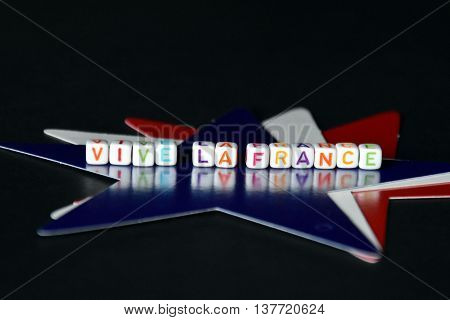 Happy Bastille Day with red white and blue french stars. Vive La France. French National Day at 14th July. La fête nationale française (le 14 Juillet le quatorze juillet).