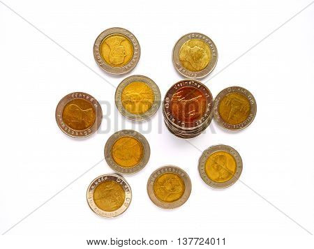 10 baht thai coin isolated on white background