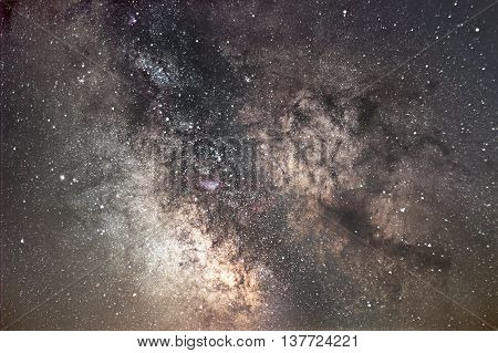 Milky Way galaxy. Core of Milky Way. Beautiful night sky. Real Starry Night. Real night sky. Exposure time 30 minutes