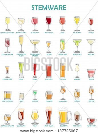 Stemware setvector illustration on a white background.A collection of glassware designed for different drinks. poster