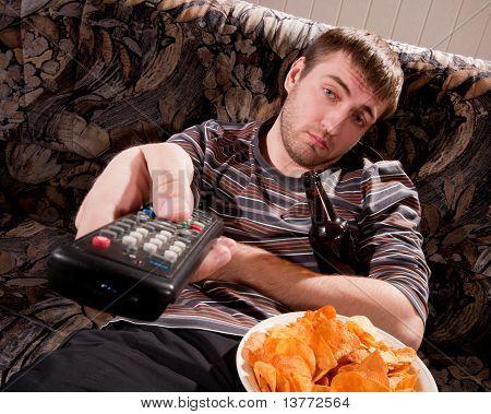 Sleepy Man Watching Tv
