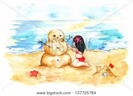 Watercolor summer travel beach sea shore sandman girl