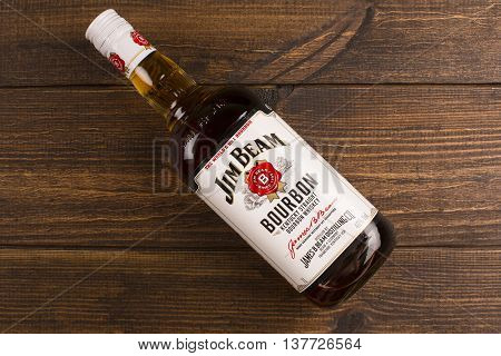 READING MOLDOVA APRIL 8 2016. Jim Beam is one of best selling brands of bourbon in the world produced by Beam Inc. in Clermont Kentucky.