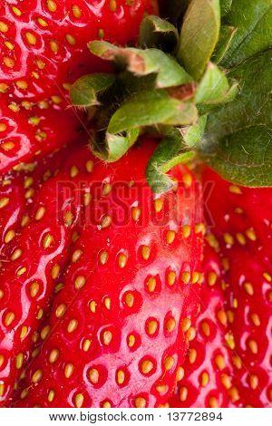 Macro Close-up Full Frame Fresh Red Mutant Strawberry